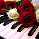roses on the keyboard